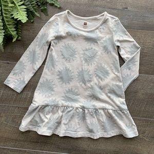 Tea Beige & Silver Metallic Long Sleeve Dress